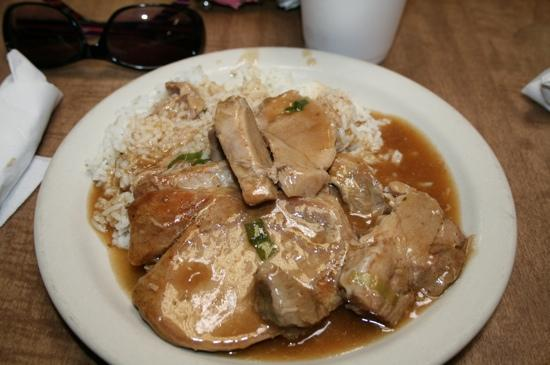 Victor's Cafeteria: Sliced pork over rice with gravy