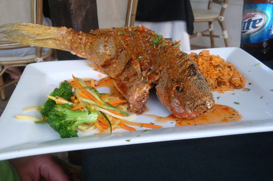 Spyglass: Red Snapper with rice and beans and veggies!