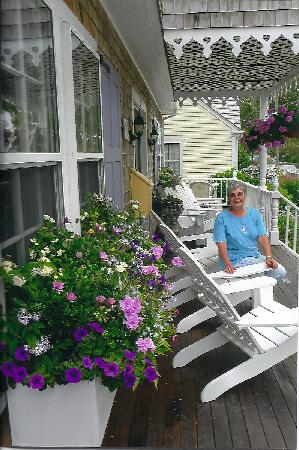 Mattapoisett, MA: Front porch relaxation among various beautiful flowers