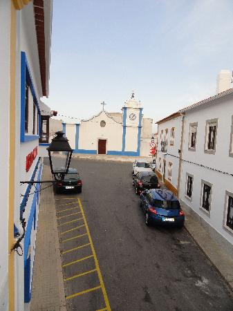 Casa do Adro : View up the street to the church.  Taken from our front window.