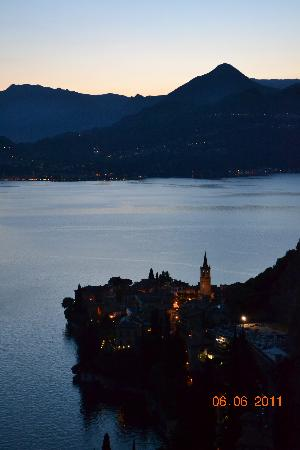 Eremo Gaudio: Varenna at dusk from the hotel deck