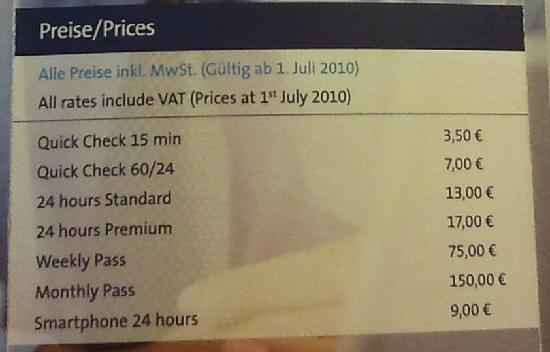 Leonardo Hotel Aachen: Kosten für das Internet (Stand: Juli 2011)