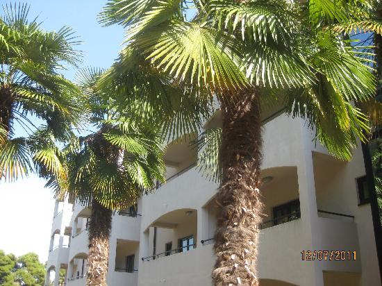 Hostin Hotel: Balconies overlooking parkland.