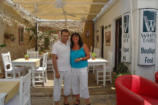 White Table: Owner with my wife.