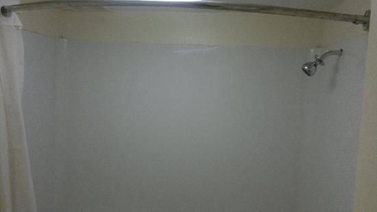 Economy Inn: The shower, notice the dirt and gap by the shower head