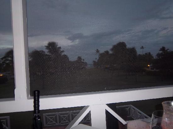 The Great House at Nisbet Plantation : View from screened porch at night