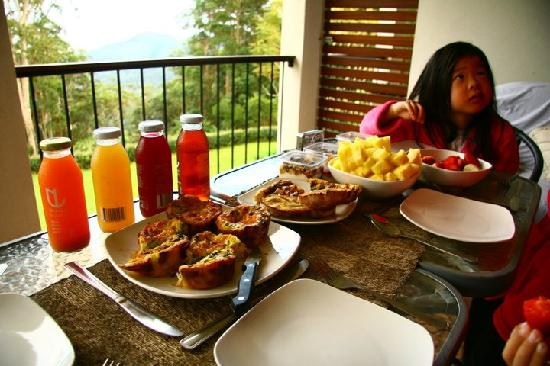Mapleton Falls Accommodation : Breakfast on the balcony with view