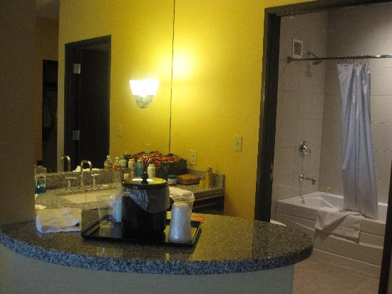 Eastside Cannery Casino & Hotel: Counter area and bathroom