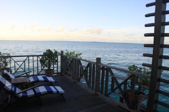 Mabul Water Bungalows: Balcony. Make sure you check out the bungalow map before making a booking and request the one wi