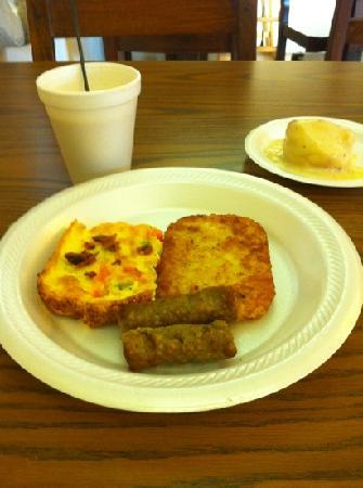 The Antonian: premade egg & cheese omelet and biscuit and gravy.
