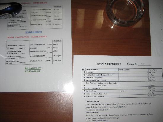 VIlla Tafaj: Warning on the table in my room