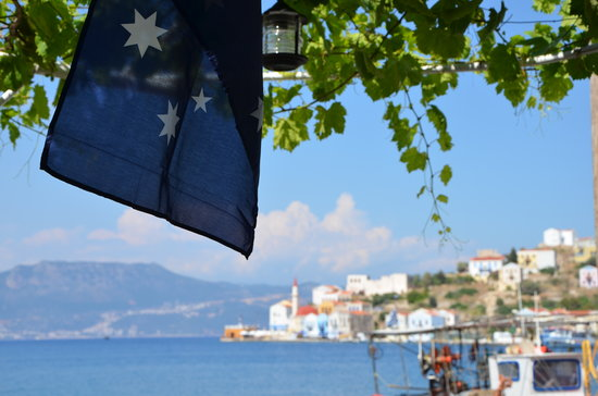 Australian flag in Greek territory..that is Old time taverna!!