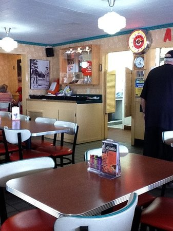 A&W Restaurant: interior - restrooms are outside like old gas stations!