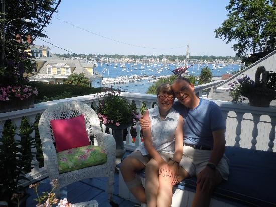 A Lady Winette Cottage Bed & Breakfast: We sit on the deck off our Harbor bedroom