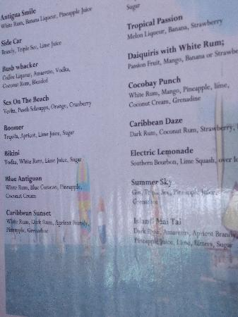 Cocobay Resort: the drink menu