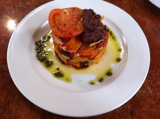 Conservation Hut : Roasted Vegetable Stack with Tapenade