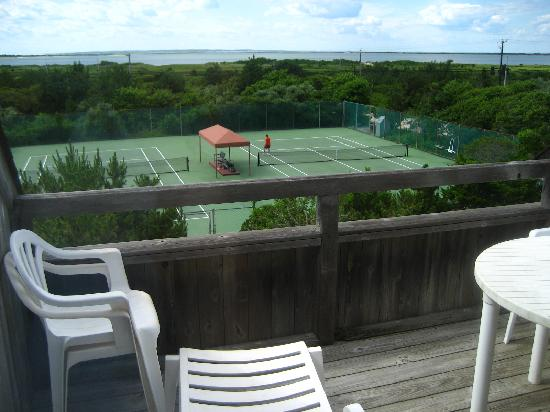 Amagansett, NY: View of tennis courts from balcony