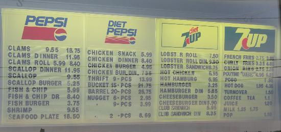Shediac, Canada: The menu at Chez Leo (July 2011)