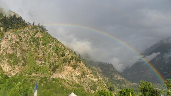 Sangla, India: Rainbow next to the camp
