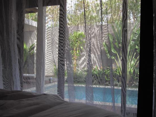 Nusa Dua Retreat and Spa: view from four post bed with mosquito net down
