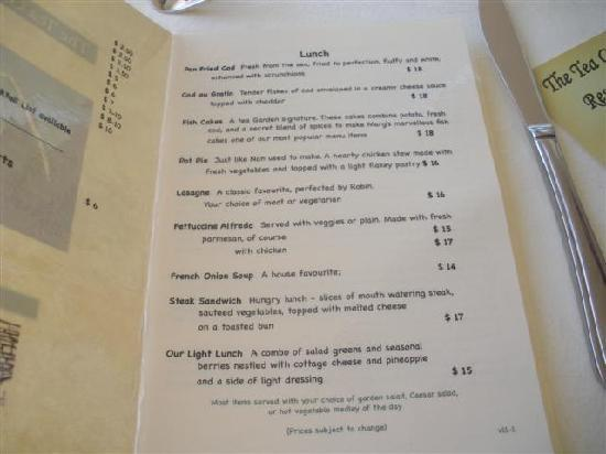 The Tea Garden: Lunch Menu