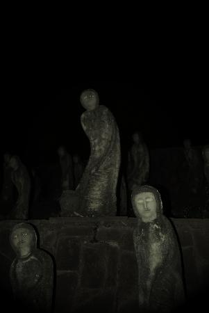 Chandigarh, India: Spooky figures  in the dark