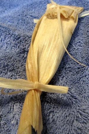 Jane Butel Cooking School: A tamale ready to be steamed