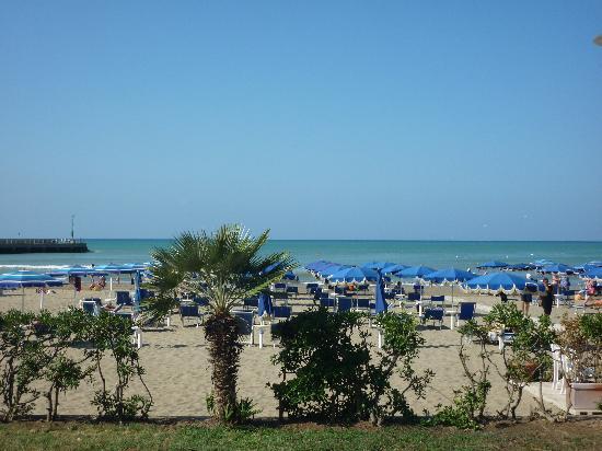 Hotel Miramare: Vista da uscita Hotel lato mare (dalla passeggiata larga 5 metri)
