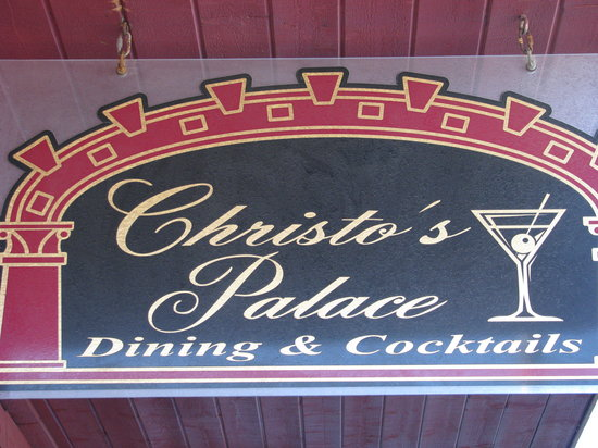 Christo's Palace: Outdoor sign