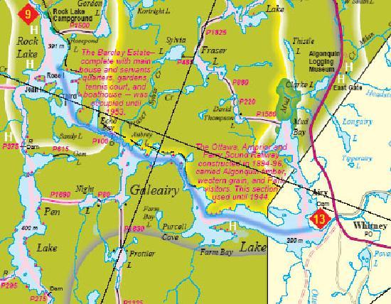 Algonquin Provincial Park, Canada: Route Map