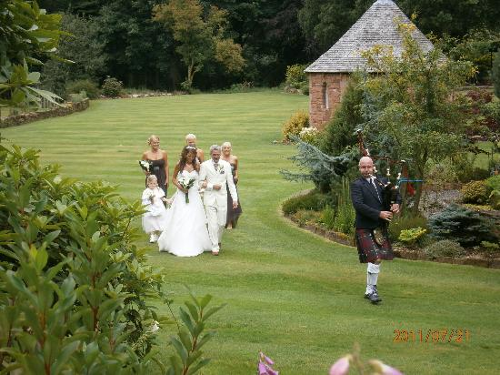 Comlongon Castle Hotel : Piped across the grounds