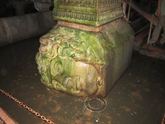 Basilica Cistern: One of the two Medusa. Beautiful