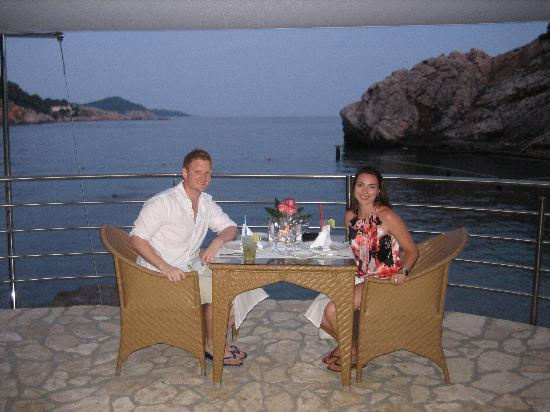 Hotel Bellevue Dubrovnik: Dinner on the beach (where he proposed!)