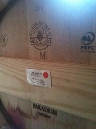 Paradigm Winery: barrels of wine in storage