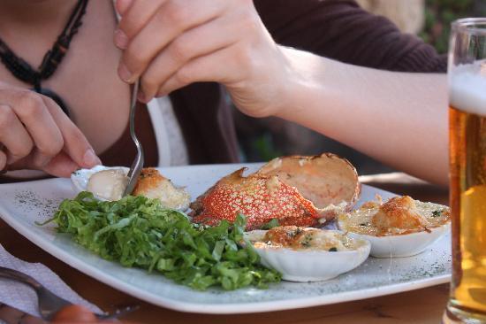 El Tio Dario: Cangrejo relleno y conchitas a la parmesana