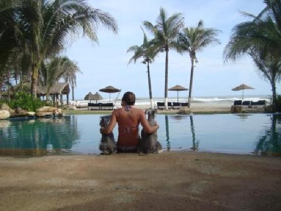 Casa Yalma Kaan: Enjoying the sea view from the pool