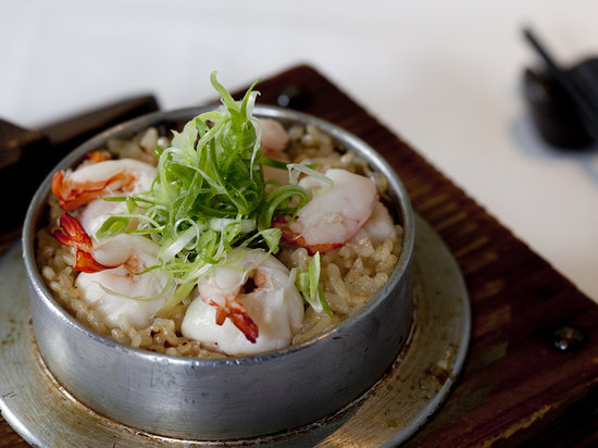 Kyoto Joe: Myanmar's Tiger Prawn and Rice cooked with double boiled Lobster Consomme in Claypot