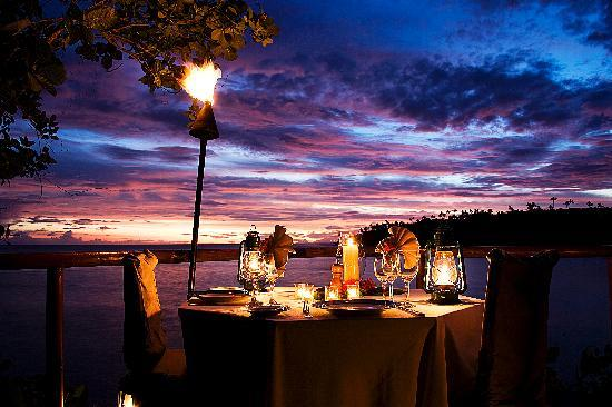 Namale the Fiji Islands Resort & Spa: Romantic private deck dining at sundown