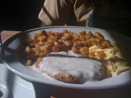 Coco's Bakery Restaurant: Hubby's Chicken fried steak. He said it was good but would have liked more than a glaze of gravy