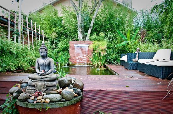 Le clos des bambous : le coin détente au bord du bassin