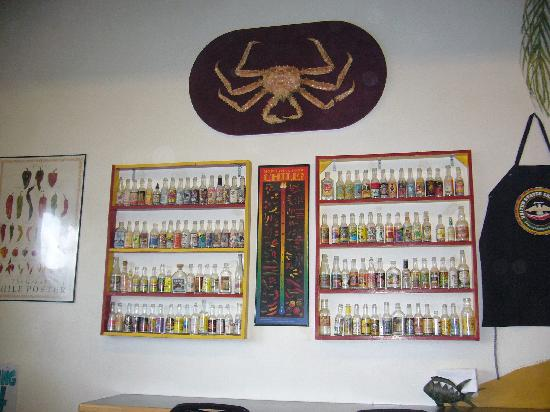 Railway Cantina: Hot Sauce Display on Wall