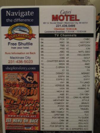 Capri Motel: TV Channel Card