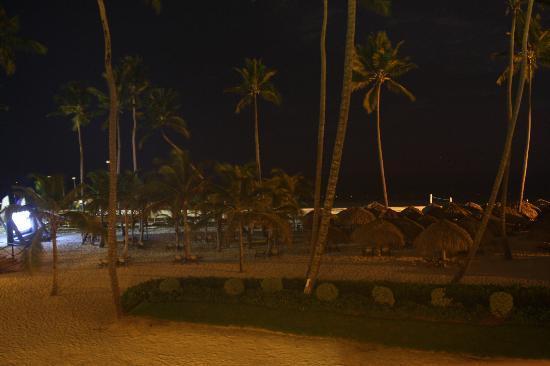 Secrets Royal Beach Punta Cana: Annoying night beach movie (on left)