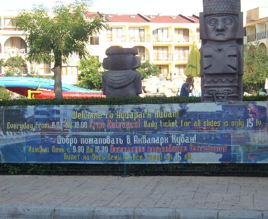 Kuban: advert on side of hotel for pool/aquapark