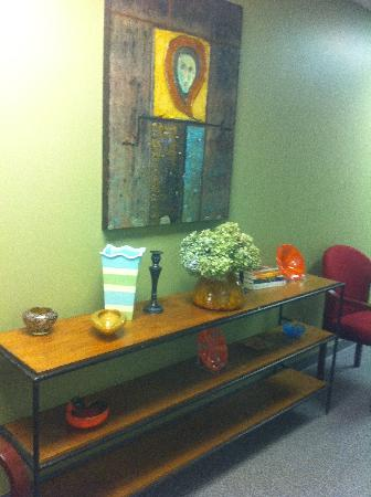 Art work at Evolve Spa by Jerry Strub local artist, modern acrylic paintings decorate our chic s