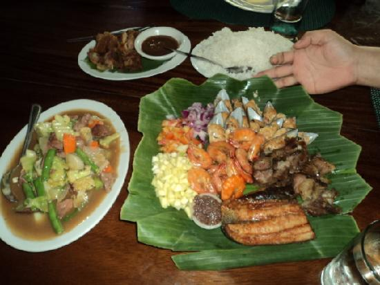 Luzon, Filippine: the platter, chopsuey and krispy kawali
