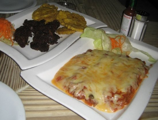 Meson de Bari: Fried beef and plantain, and cheesy aubergine
