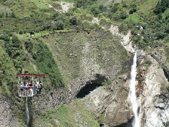 Banos, Ecuador: cascade de agoyan and the tarabita used to cross to it
