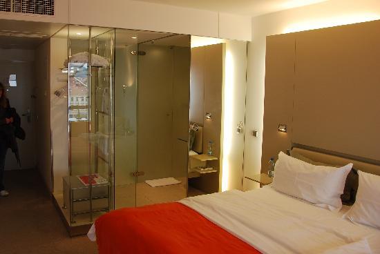 our room glass bathroom Picture of Design Hotel Josef Prague