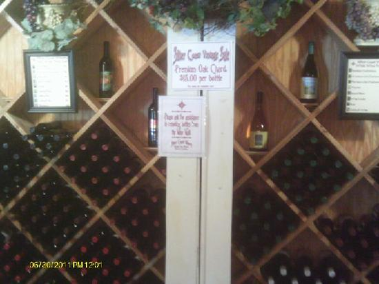 Silver Coast Winery: inside wine racks/displays